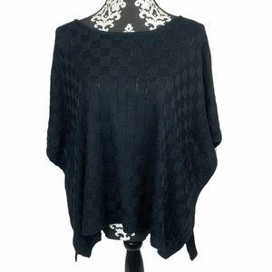 Mud Pie Sweater Black Poncho Style Textured Flowy